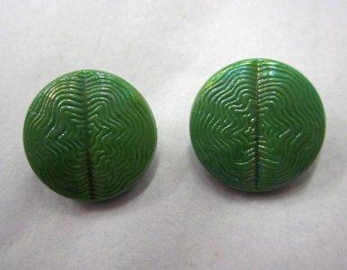 2 Green Iridescent Buttons