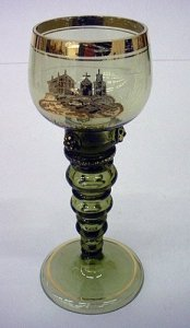 Goblet with Gold Transfer Scene of Buildings