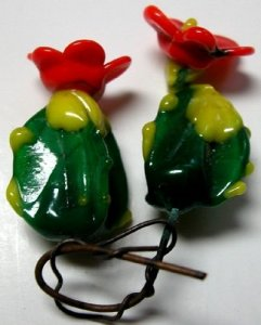 Flameworked Miniature Pair of Blooming Cacti