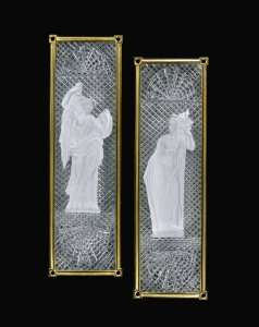 2 Door Plates Personifying Temperance and Fortitude