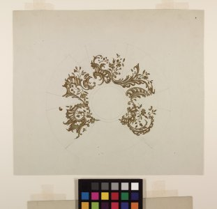 [Design drawings for plates with ornate gold detail] [art original].