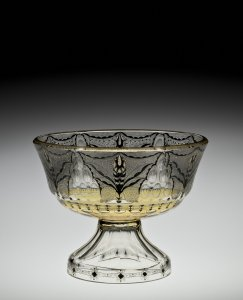 Footed Bowl with Enameled Decoration