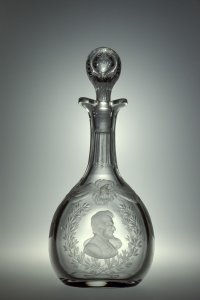 Decanter with Portraits of Lincoln and Grant, with Stopper