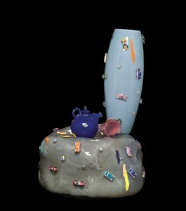 Grey Rock, Sky Blue Vase, Blue Teapot