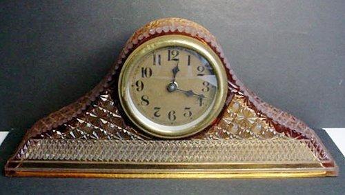 Tambour Art Glass Mantle Clock