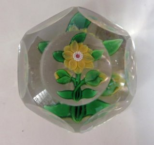 Paperweight with Yellow Clematis