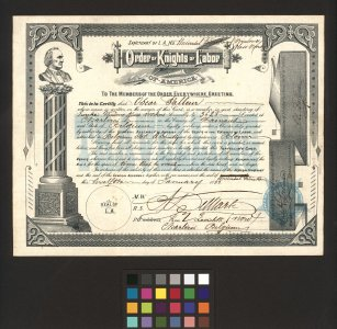 [Order of Knights of Labor of America membership certificate for Oscar Falleur] [graphic].