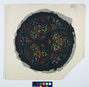 [Design drawing of circular stained glass window with trefoils] [art original].