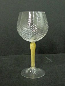 Red Wine Glass with Gold Stem