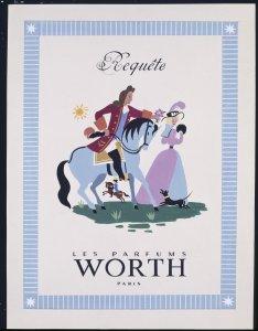 Printed advertisement, requéte les parfums worth, Paris [transparency]