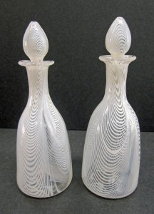 2 Latticinio Decanters with Stoppers