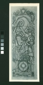 [Stained glass cartoon of Jesus with two children] [picture].