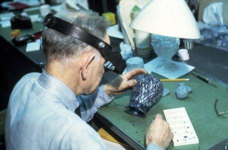 [Conservator Edward Rowe restoring Roman ewer] [slide].