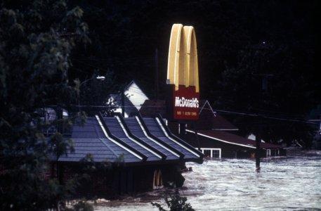 [McDonalds under water, before collapse] [slide].