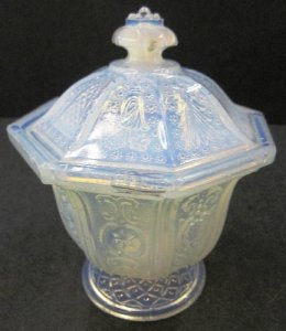 Opalescent Sugar Bowl with Cover in California Pattern