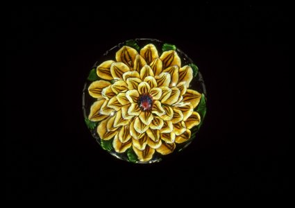 Paperweight with Amber Dahlia