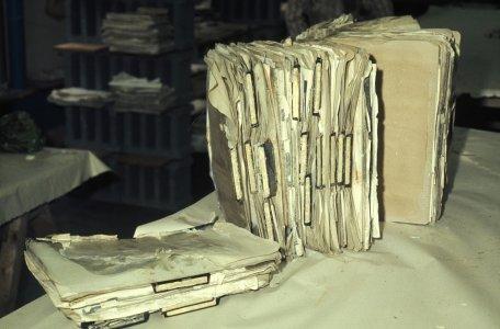 [Flood-damaged museum files] [slide].