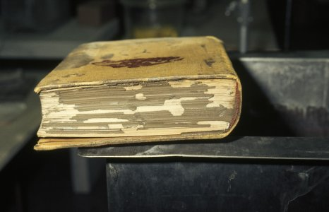 [Large flood-damaged book covered with mud] [slide].