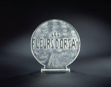 Lalique shop display sign for D'Orsay; les fleurs D'Orsay [transparency]
