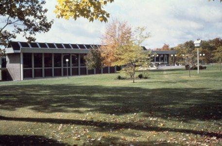 [Arthur Houghton, Jr. Library on Corning Community College campus 1972] [slide].