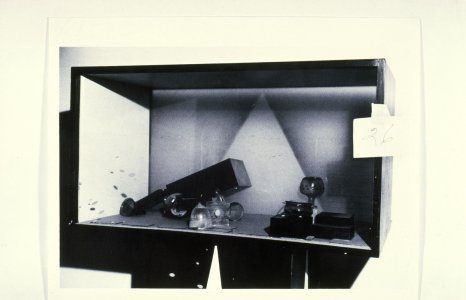 [Damaged glassware in gallery case] [slide].