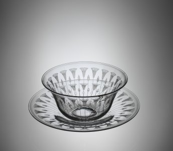 "Fingerbowl and Plate in ""Kalana Lily"" Pattern"