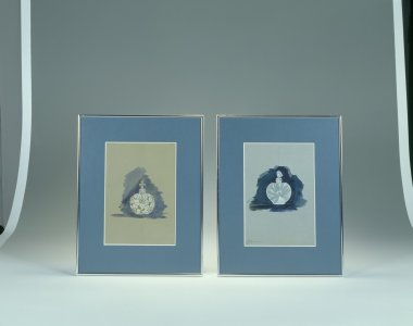 Two design drawings for scent bottles by René́ Lalique [transparency]