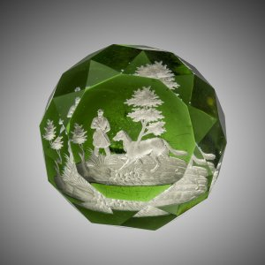 Paperweight with Sulphide of Hunter and Dog