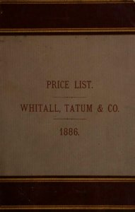 Whitall, Tatum & Co., manufacturers of druggists', chemists' and perfumers' glassware: manufacturers and jobbers of druggists' sundries.