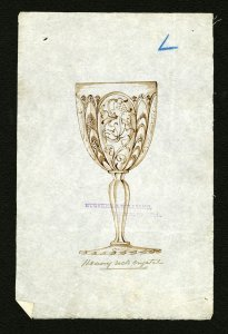 [Design drawing for heavy rock crystal goblet] [art original].