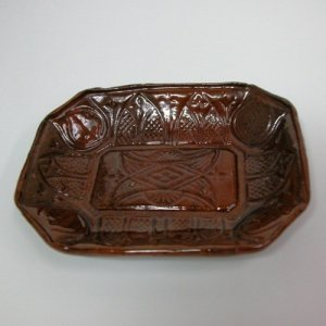 Redware Tray in Gothic Arch and Leaf Pattern