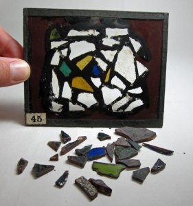 29 Small Pieces of Stained Glass from Chartres Cathedral