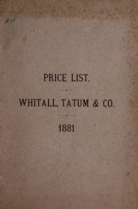 Whitall, Tatum & Co., glass manufacturers: druggists, chemists and perfumers glassware, druggists sundries.
