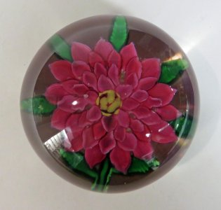 Paperweight with Pink Dahlia