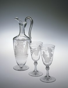 Claret Jug and 2 Wineglasses