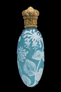 Cameo Scent Bottle with Fuchsia Flowers