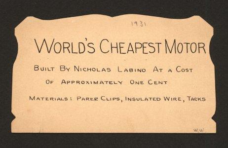 [World's cheapest motor].