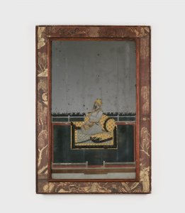 Reverse-painted Portrait on Mirror Glass Depicting a Mughal Nobleman, perhaps Nawab Shahamat Jang