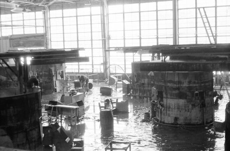 [Flooded Steuben Glass factory production area] [picture].