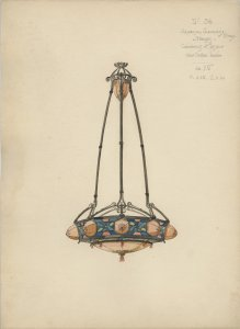 [Portfolio of 48 watercolor designs for lamps and lighting fixtures] [art original].