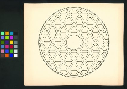 "[Line drawing showcasing honeycomb-like structure of 200"" disk] [art original]."
