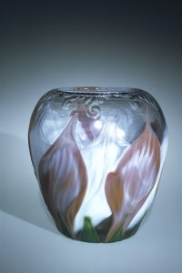 Cameo-Cut and Engraved Vase with Flower Petals