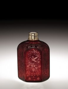 Engraved Bottle in Gold Ruby Glass with Metal Cap
