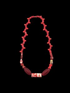 Necklace with Imitation Coral Beads