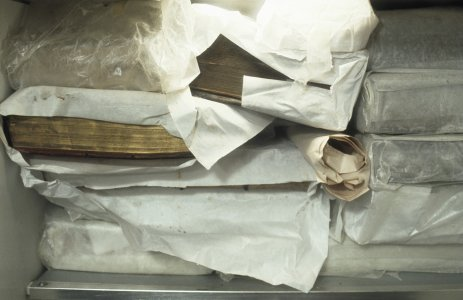 [Books are wrapped then frozen to prevent the growth of mold and bacteria, view 9] [slide].