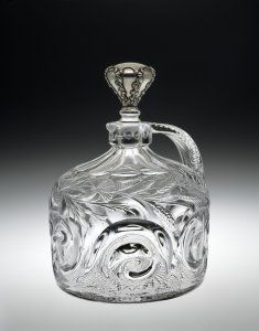 "Whiskey Jug and Stopper in ""Snail"" Pattern"