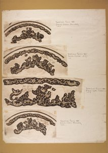 [Design drawings for Louis XV etching for carafe] [art original].