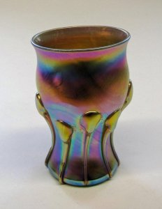 Iridescent Tumbler with Applied Decoration