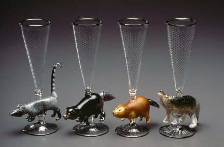 Coyote, beaver, wolverine, and coati, animal goblets [slide].