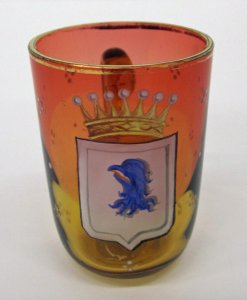 Punch Cup or Miniature Mug with Blue Eagle and Crown